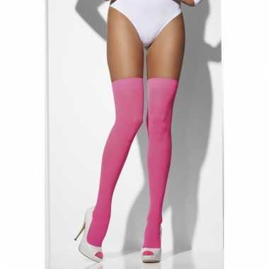 Neon roze hold up kousen voor dames