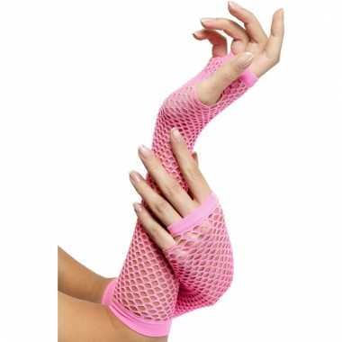 Neon roze visnet handschoenen