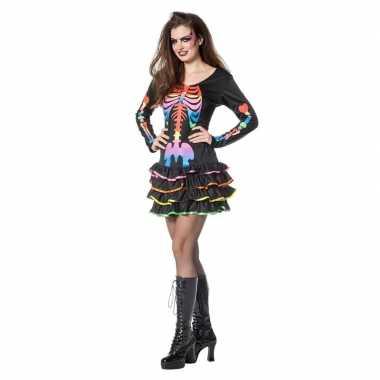 Neon skelet halloween verkleedjurk voor dames