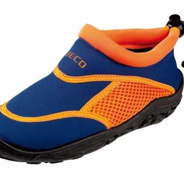 Neopreen blauw oranje waterschoenen voor kinderen