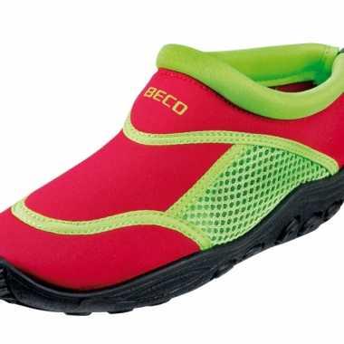 Neopreen rood met groene waterschoenen voor kinderen