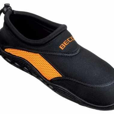 Neopreen waterschoenen voor dames zwart oranje