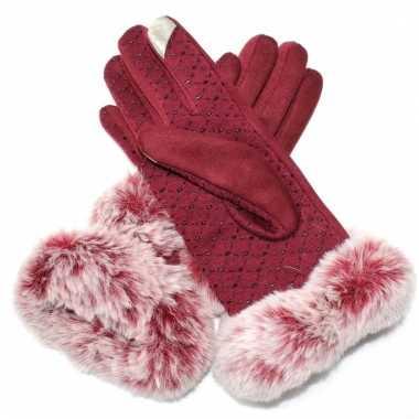 Nep bonten handschoenen s/m rood voor dames
