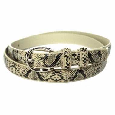 Nep leren slangenleer riem zwart beige 105 cm