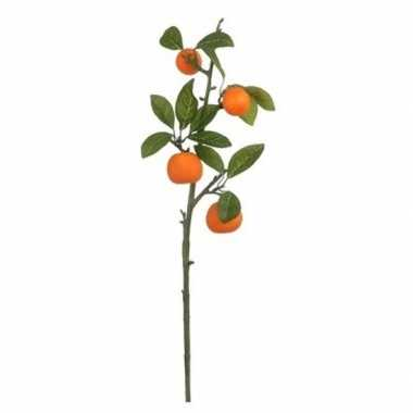 Nep planten citrus sinensis sinaasappelboom kunstbloemen takken 65 cm