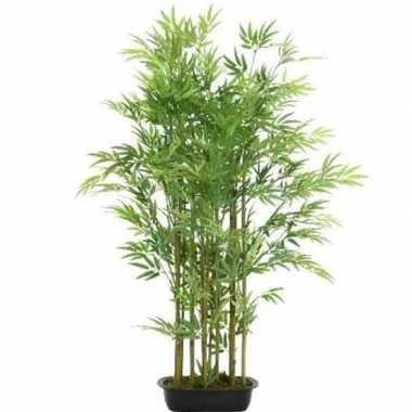 Nep planten groene bamboe kunstplanten 125 cm met zwarte pot