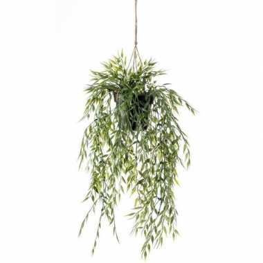 Nep planten groene bamboe kunstplanten 50 cm met hangpot
