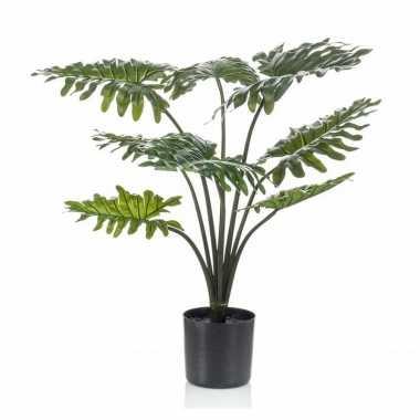 Nep planten groene philodendron kunstplanten 60 cm met zwarte pot