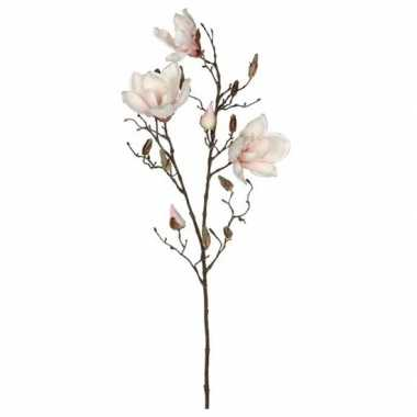 Nep planten magnolia beverboom kunstbloemen takken 90 cm decoratie