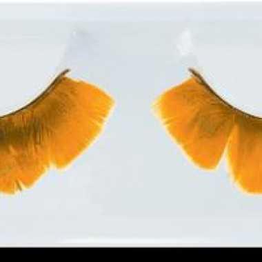 Nep wimpers oranje veertjes