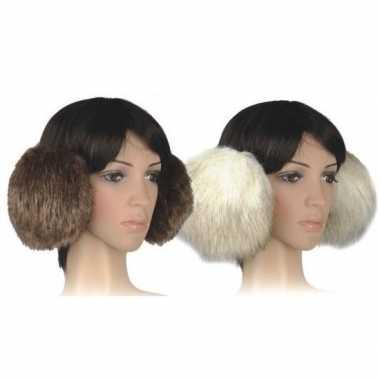 Nepbont grote oorwarmers beige voor dames
