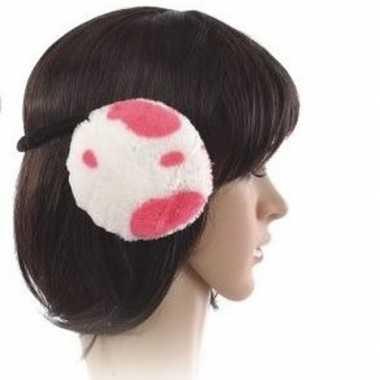 Nepbont oorwarmers koeien print roze voor dames