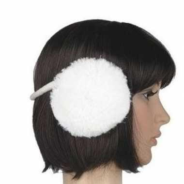 Nepbont oorwarmers wit voor dames