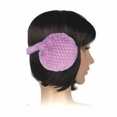 Nepbonten oorwarmers paars voor dames