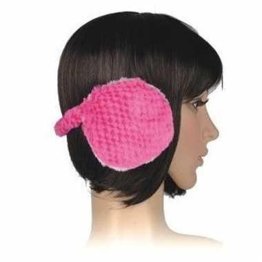 Nepbonten oorwarmers roze voor dames