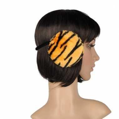 Nepbonten oorwarmers tijger print oranje voor dames