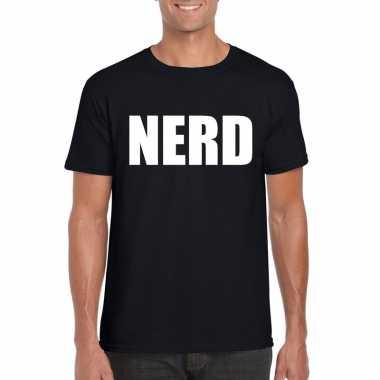 Nerd fun t-shirt zwart voor heren