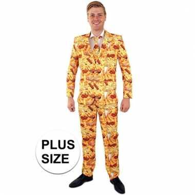 Net pak/kostuum met snack print voor heren grote maten