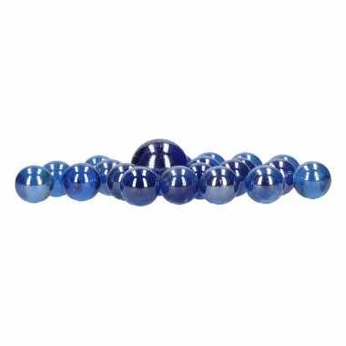 Netje met blauwe knikkers 21 stuks