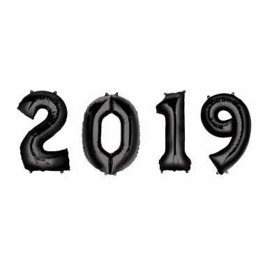 New year versiering 2019 ballonnen zwart