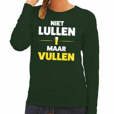 Niet lullen maar vullen fun sweater groen voor dames