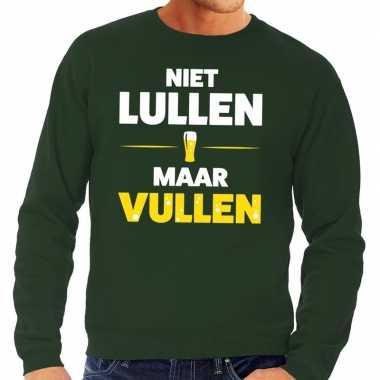 Niet lullen maar vullen fun sweater groen voor heren