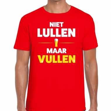 Niet lullen maar vullen fun t-shirt voor heren rood