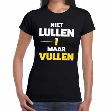 Niet lullen maar vullenfun t-shirt zwart voor dames