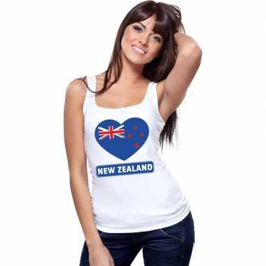 Nieuw zeeland hart vlag mouwloos shirt wit dames