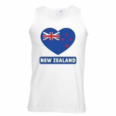 Nieuw zeeland hart vlag mouwloos shirt wit heren