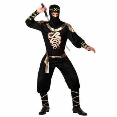 Ninja kostuum zwart/goud voor dames/heren