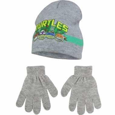 Ninja turtles grijze muts en handschoenen voor jongens