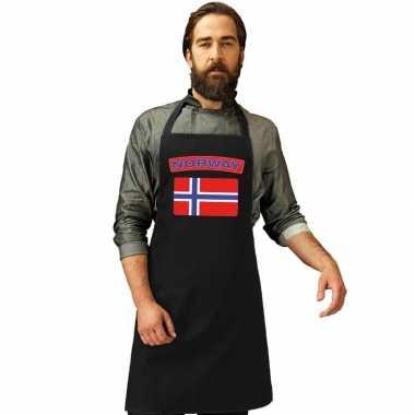 Noorse vlag keukenschort/ barbecueschort zwart heren en dames