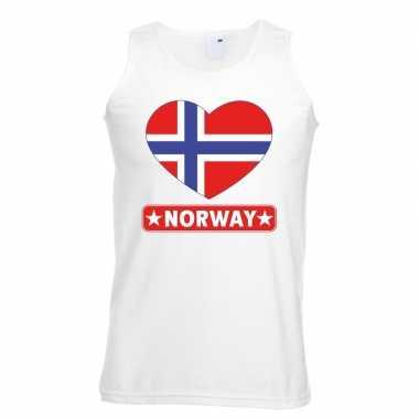 Noorwegen hart vlag mouwloos shirt wit heren