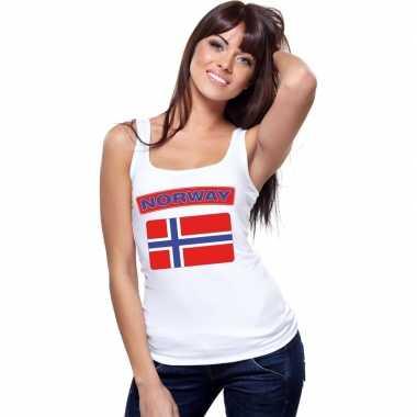 Noorwegen vlag mouwloos shirt wit dames