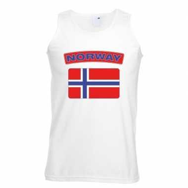 Noorwegen vlag mouwloos shirt wit heren