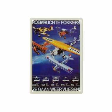 Nostalgische plaat fokker 20 x 30 cm