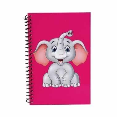 Notitieboekje olifant roze 18cm
