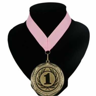 Nummer 1 kampioensmedaille roze