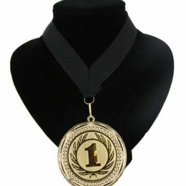 Nummer 1 kampioensmedaille zwart