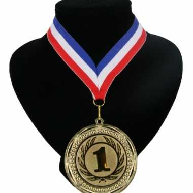 Nummer 1 medaille rood wit blauw