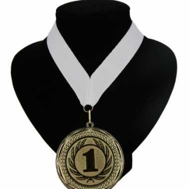 Nummer 1 medaille wit