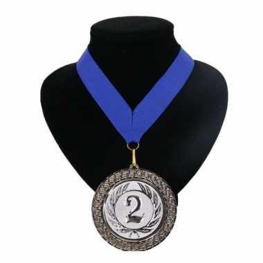Nummer 2 kampioensmedaille blauw