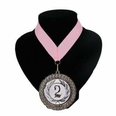 Nummer 2 kampioensmedaille roze
