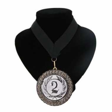 Nummer 2 kampioensmedaille zwart