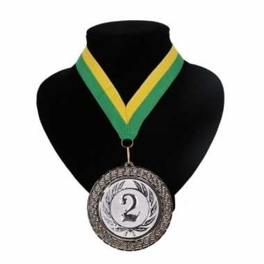 Nummer 2 medaille geel groen