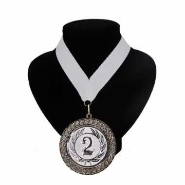 Nummer 2 medaille wit