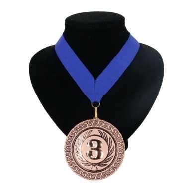Nummer 3 kampioensmedaille blauw