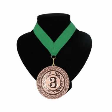 Nummer 3 kampioensmedaille groen