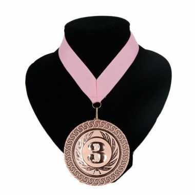 Nummer 3 kampioensmedaille roze